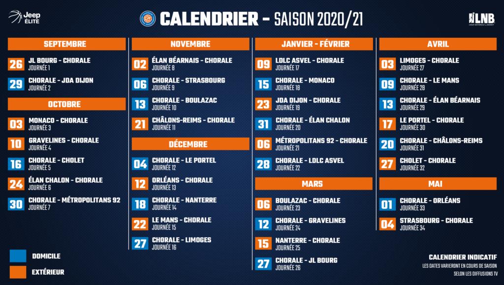 Chorale Basket Roanne – Le calendrier 2020/21 de Jeep ELITE dévoilé